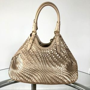 Cole Haan Gold Metallic Woven Shoulder Bag Braid